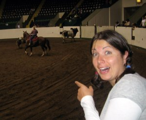 Liz is amazed by the rodeo!