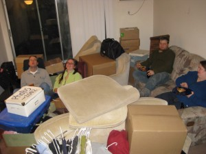 The Rosoks and Berglund-Husebys after helping us move last week.