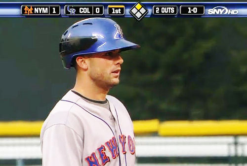 No Photoshop job—David Wright wearing a comically large helmet for the Mets.