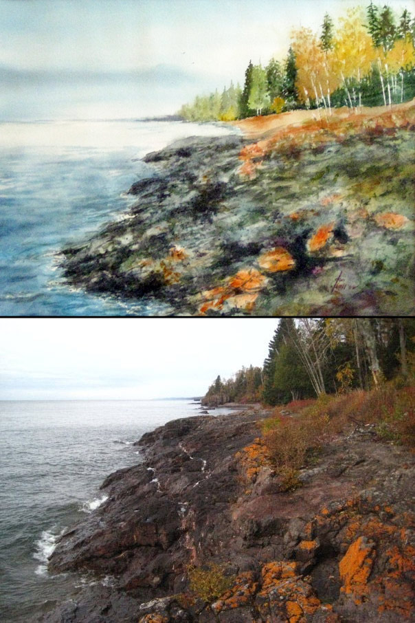 Before & After: Great Uncle Don watercolor 2 of 2