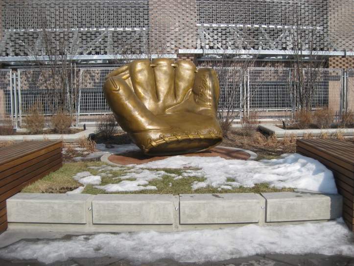 Giant fiberglass Twins glove you can sit in.