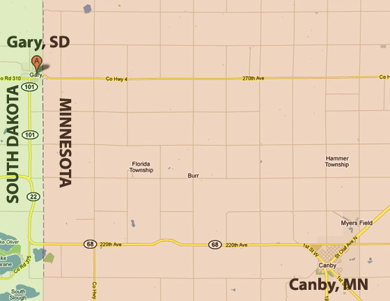 does the gary, sd post office deliver mail to minnesota?