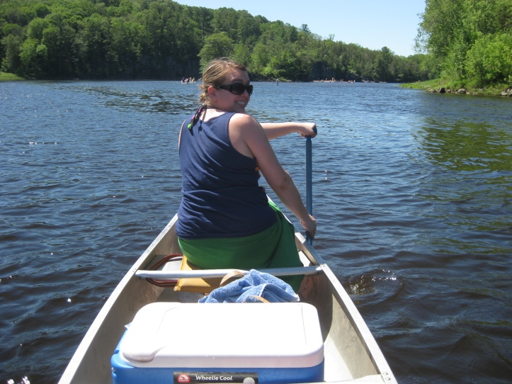 Lauren paddles the front of the canoe on the St. Croix River, dividing Minnesota and Wisconsin.