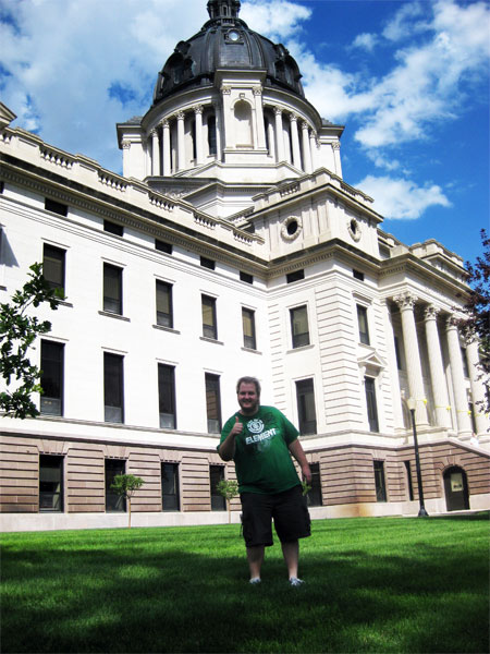 Jason LaPlant at the South Dakota state capitol building in Pierre