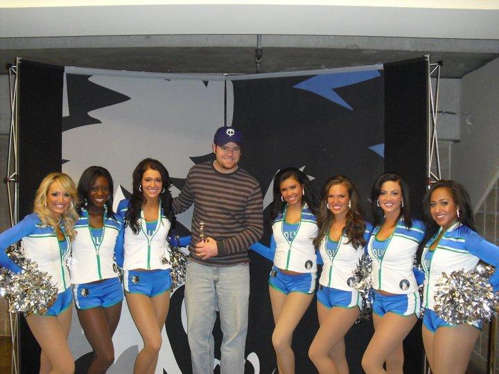 ryan glanzer with minnesota timberwolves cheerleaders