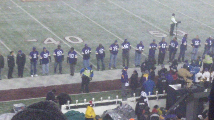 The 50 Greatest Vikings were unveiled at halftime.