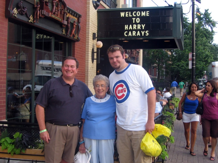 ILLINOIS: Biiiiig three! Lauren's uncle Dave, grandma Joyce, and me visit Harry Caray's in Chicago.