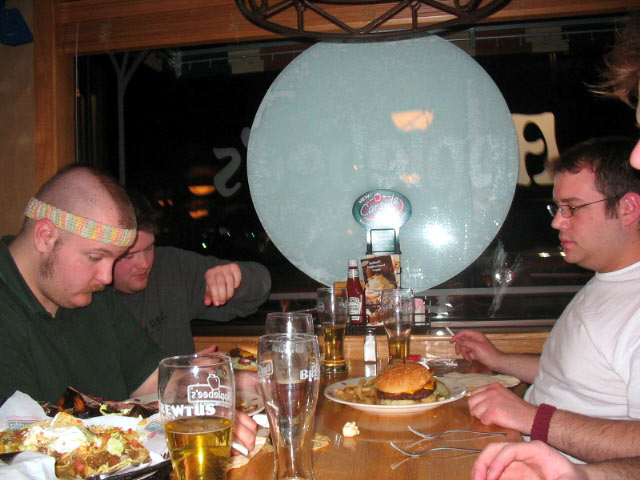 INDIANA: The gang eats at the Angola, IN Applebee's on spring break in 2005.