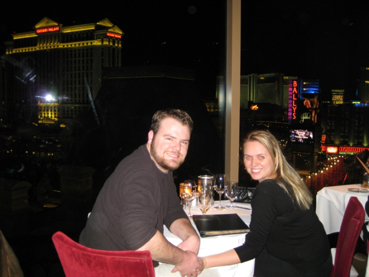 NEVADA: Lauren and I splurging at the Eiffel Tower restaurant in Las Vegas