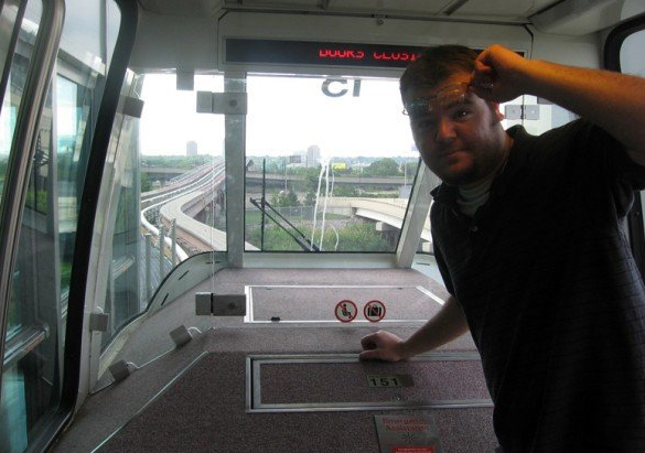 NEW JERSEY: Riding the airport monorail to our luggage in Newark.