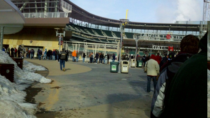 Waiting in line for Minnesota Twins single-game tickets to go on sale.