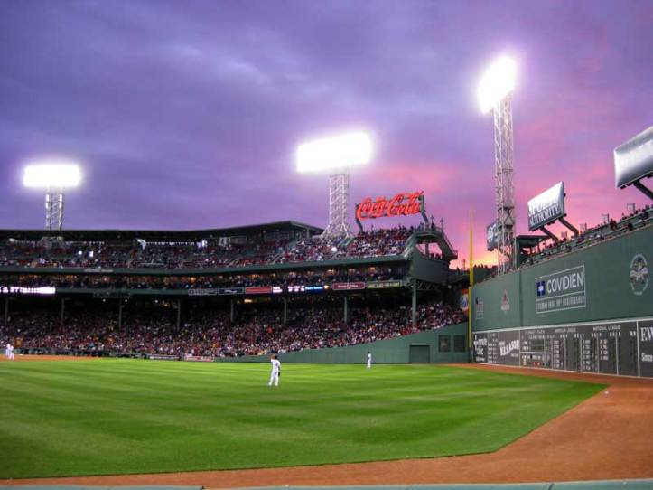 Sun setting on Fenway Park, May 9, 2011, Red Sox vs Twins