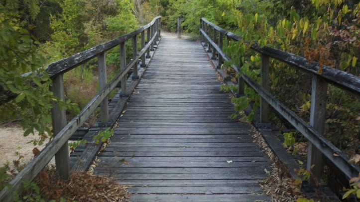 Picturesque walking bridge on hiking trail