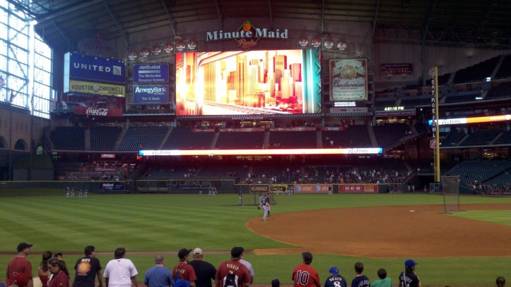 Brewers take batting practice at Minute Maid Park