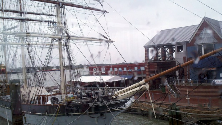 The Elissa, a famous ship at a pier in Galveston, TX