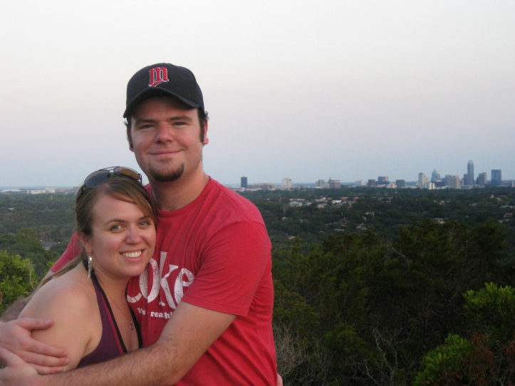 Lauren and I atop Mt. Bennell with the Austin skyline in the background