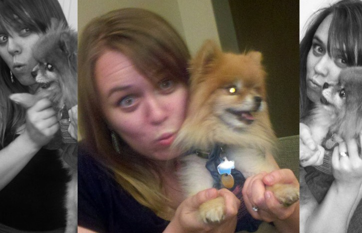 Lauren had way too much fun dancing with Roxy, co-worker Eddie's tiny clothed dog