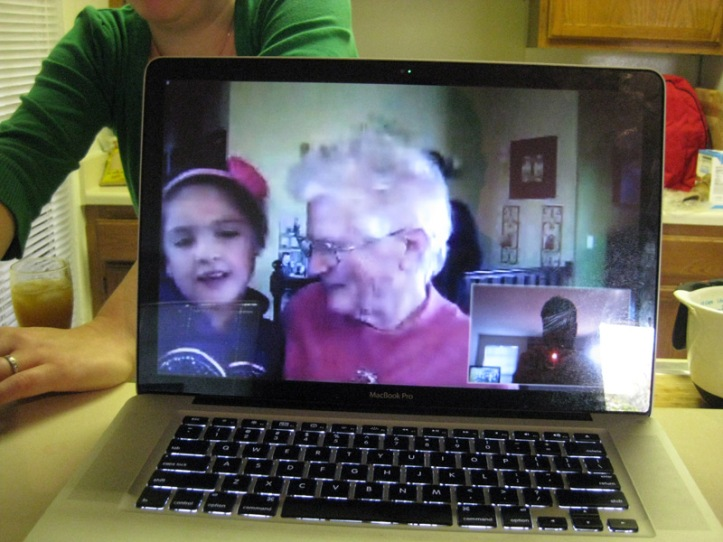 Video chatting with Emerson and Granny on Thanksgiving.