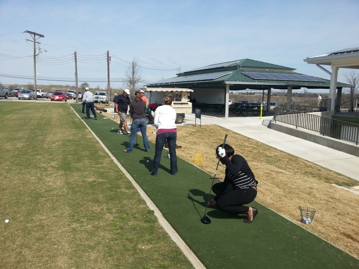 The Callaway marketing team at the driving range over break Friday.