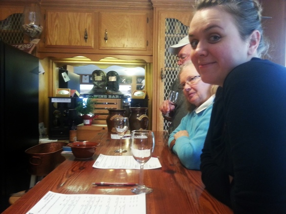 Lauren, Anne, and Steve try some wines at Driftwood Vineyards.