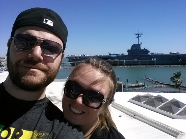 Ryan Glanzer and Lauren Poulter Glanzer at the USS Lexington, Corpus Christi, TX