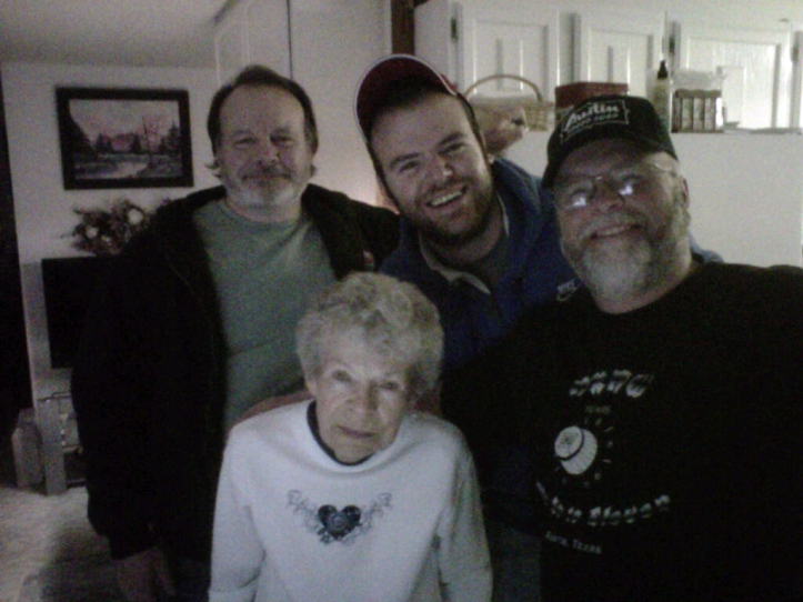 Stuart, Grandma Bell, Dad and me having a late night get-together in Doland.