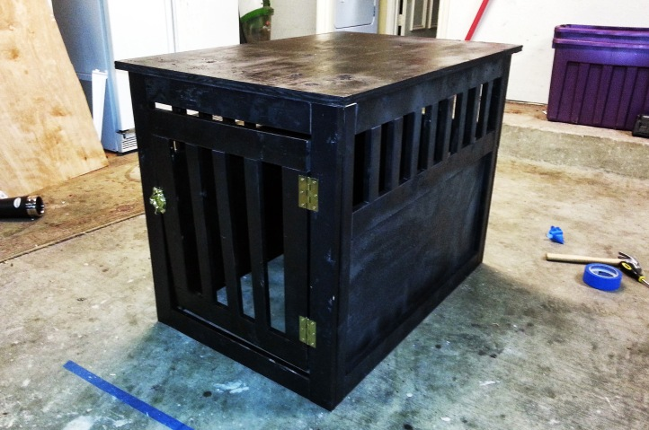 Dog crate built using Kreg Jig and a whole bunch of Craftsman drill attachments. I did all the sawing with a jigsaw attachment!