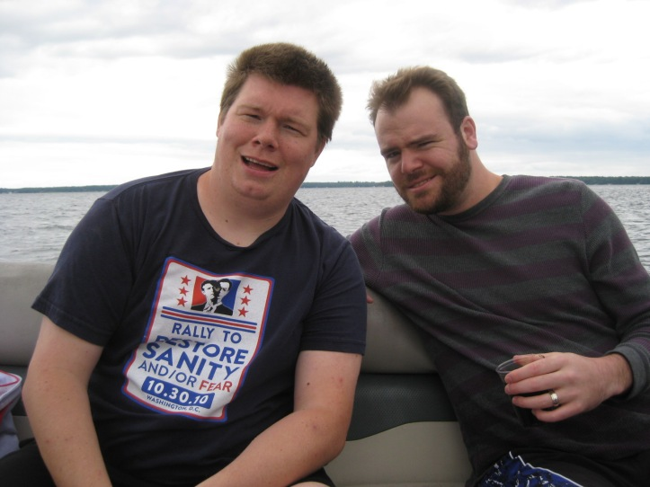 Sandy Sandbun and I on the pontoon.