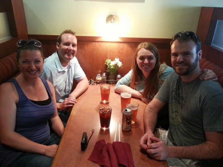 Liz, Patrick, Lauren, and I together for lunch at Pizza Luce in Uptown.