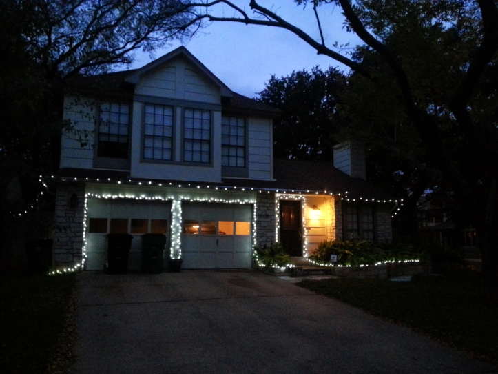The Glanzer house on Sinton Lane all lit up.