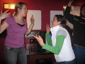 File photo, 2008: Lauren and Liz at Patrick Lynch's birthday at The Sportsman's in Minneapolis singing karaoke.