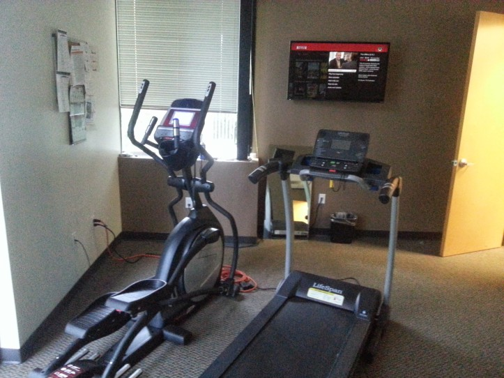 11:41am - Time for a 2.31-mile run on the elliptical machine while watching The Office.
