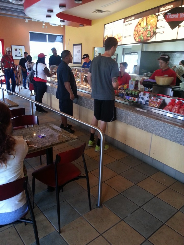 12:50pm - Time to negate that workout by going out to Panda Express with Randy Varela for lunch.
