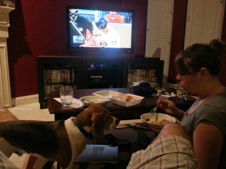 8:03pm - Dinner and the Twins/Brewers game on MLB.TV. Now now, beagle, human food is for humans.