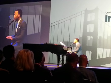 Recording artist John Legend spoke and played a few tunes.