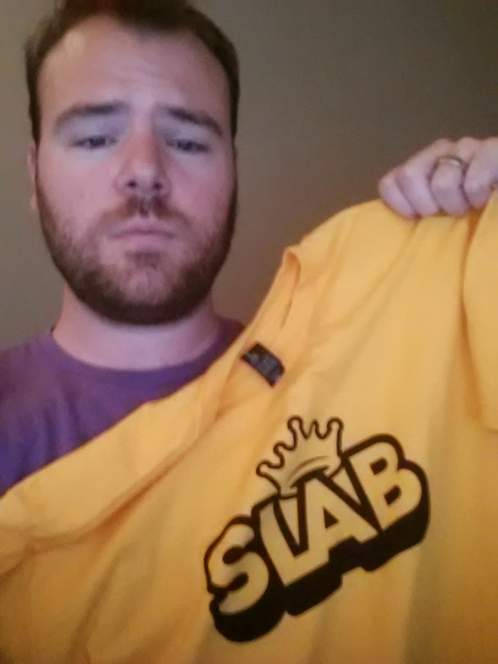Yeah, I totally won this shirt by being the second EVER customer at Slab BBQ. EVER.