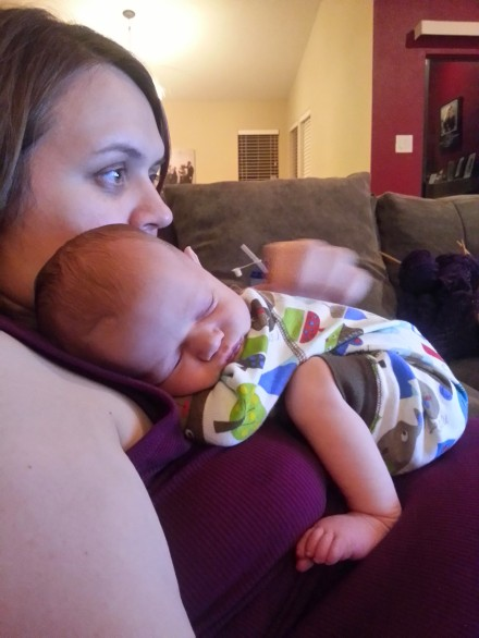 Johnny all snuggled up on Mommy for a nap!