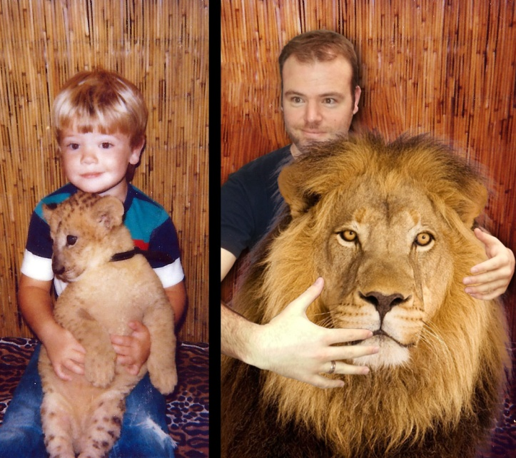 I took a different approach with this timeless photo of me with a lion (ca. 1985) from the Huron Mall and just showed the modern-day reunion. The idea was that it would be intentionally crudely Photoshopped.