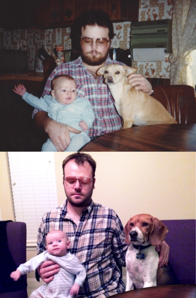 That's of course me as a 2-month-old baby in October 1982, with young chihuahua terrier Puppy, and a 22-year-old Dick Glanzer... My attempt to reproduce this classic moment features nearly-2-month-old Johnny, 32-year-old me, and 3-year-old beagle Baxter.