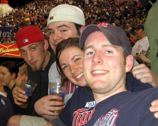 Not the season opener, but Walsh, Liz, Patrick and I had the Microboards seats for the home opener a week later.