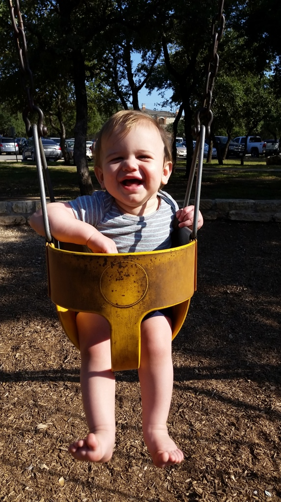 I took Johnny to Brushy Creek Park Saturday morning before it got too hot. He had some fun on a swing.