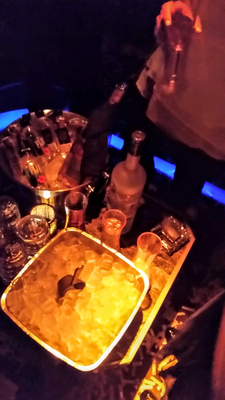 A sampling of what a $1000 bottle service gets you... your own bottle of liquor, some mixers, water, a bunch of ice, and a scantily-dressed bartender (not pictured).