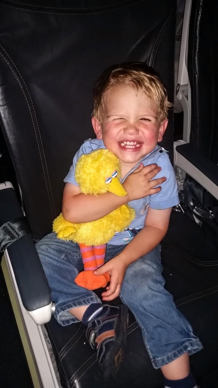 FUN times on the plane with Big Bird!