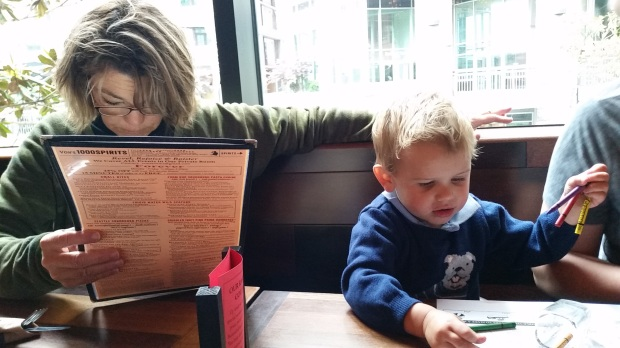 Grandma and Johnny browse the Von's menu.