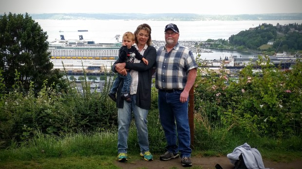 Johnny and the grandparents near our rental house.