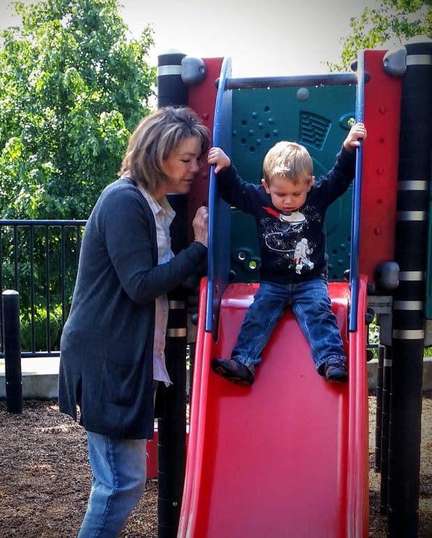 Grandma and Johnny on the Kerry Park slide.