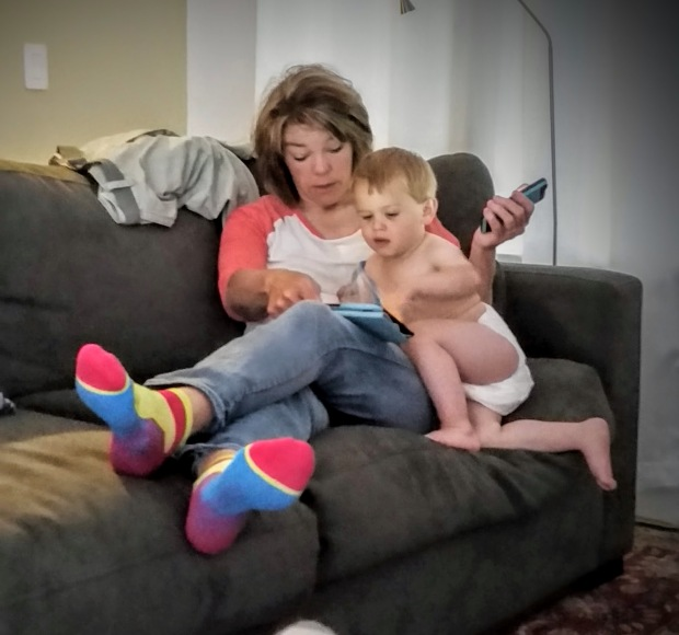 Johnny and Grandma get to know one another over some Elmo.