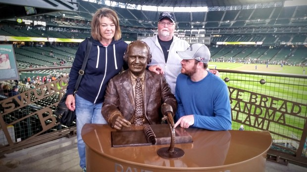 Mom, Dad, Dave Niehaus's statue, and me.