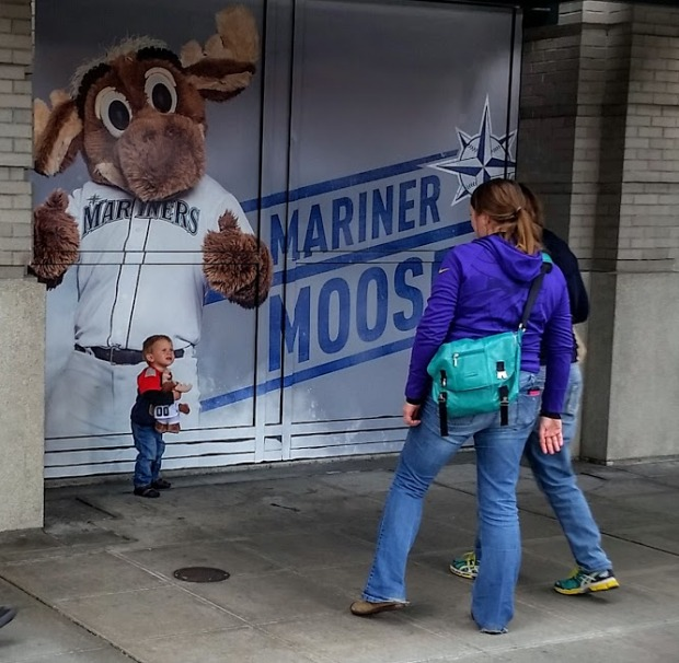 Johnny meets Mariner Moose.