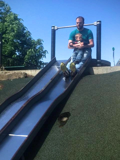 A slow, wet slide.